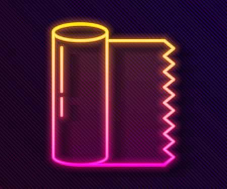 Glowing neon line Textile fabric roll icon isolated on black background. Roll, mat, rug, cloth, carpet or paper roll icon. Vector Illustration