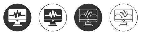 Black Computer monitor with cardiogram icon isolated on white background. Monitoring icon. ECG monitor with heart beat hand drawn. Circle button. Vector Illustration Ilustracja