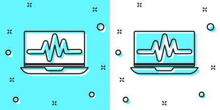 Black line Laptop with cardiogram icon isolated on green and white background. Monitoring icon. ECG monitor with heart beat hand drawn. Random dynamic shapes. Vector Illustration Ilustracja