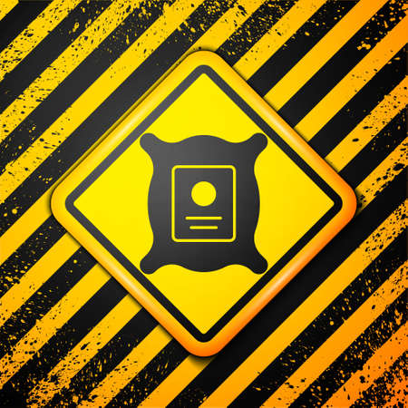 Black Pack full of seeds of a specific plant icon isolated on yellow background. Warning sign. Vector Illustration