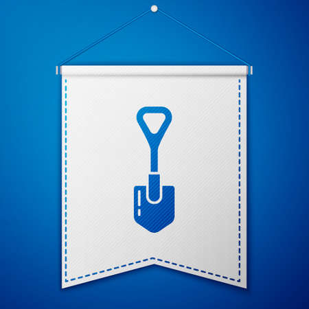 Blue Shovel icon isolated on blue background. Gardening tool. Tool for horticulture, agriculture, farming. White pennant template. Vector Illustration