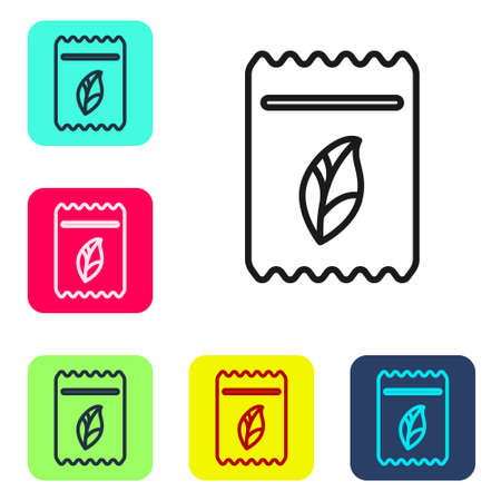 Black line Pack full of seeds of a specific plant icon isolated on white background. Set icons in color square buttons. Vector Illustration