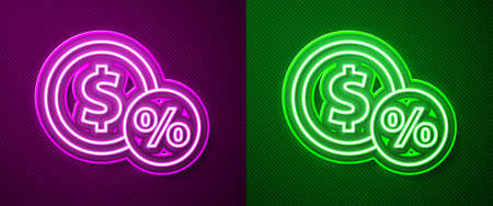 Glowing neon line Money coin with percent icon isolated on purple and green background. Cash Banking currency sign. Vector Illustration