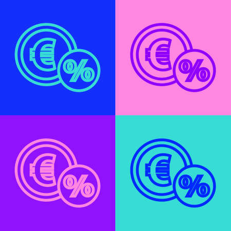 Pop art line Money coin with percent icon isolated on color background. Cash Banking currency sign. Vector Illustration Vettoriali