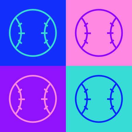 Pop art line Baseball ball icon isolated on color background. Vector Illustration Ilustração