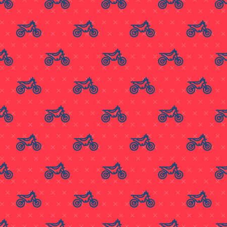 Blue line Mountain bike icon isolated seamless pattern on red background. Vector Illustration Ilustração