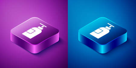 Isometric Hand sanitizer bottle icon isolated on blue and purple background. Disinfection concept. Washing gel. Alcohol bottle for hygiene. Square button. Vector Illustration.