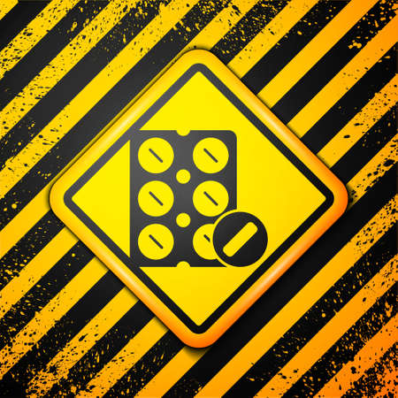 Black Pills in blister pack icon isolated on yellow background. Medical drug package for tablet, vitamin, antibiotic, aspirin. Warning sign. Vector Illustration. 일러스트