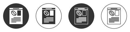 Black Newspaper and coffee icon isolated on white background. Mass media symbol. Circle button. Vector Illustration.