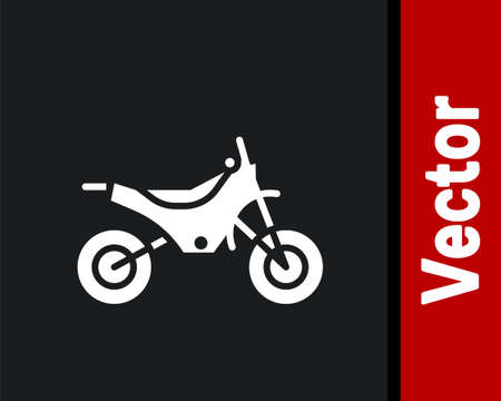 White Mountain bike icon isolated on black background. Vector Illustration. Ilustração