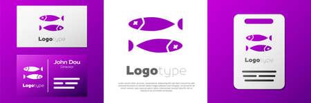 Logotype Dried fish icon isolated on white background. Ilustração
