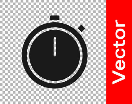 Black Stopwatch icon isolated on transparent background. Time timer sign. Chronometer sign. Vector Illustration. Ilustração