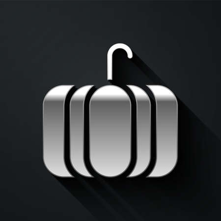 Silver Pumpkin icon isolated on black background. Happy Halloween party. Long shadow style. Vector Illustration.