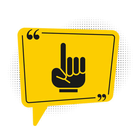 Black Number 1 one fan hand glove with finger raised icon isolated on white background. Symbol of team support in competitions. Yellow speech bubble symbol. Vector Illustration.