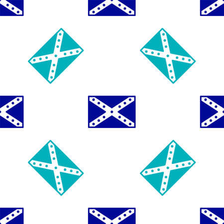 Blue National flag of the Confederate States of America icon isolated seamless pattern on white background. Vector Illustration.