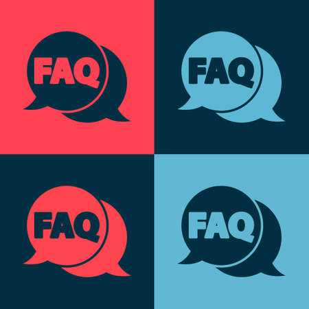 Pop art Speech bubble with text FAQ information icon isolated on color background. Circle button with text FAQ.  Vector Illustration.
