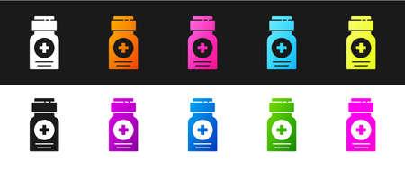 Set Medicine bottle icon isolated on black and white background. Bottle pill sign. Pharmacy design.  Vector Illustration.
