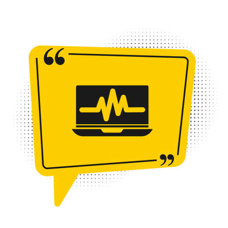 Black Laptop with cardiogram icon isolated on white background. Monitoring icon. ECG monitor with heart beat hand drawn. Yellow speech bubble symbol. Vector Illustration.