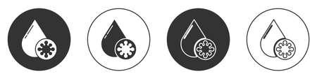 Black Blood test and virus molecule coronavirus icon isolated on white background. Coronavirus, COVID-19. 2019-nCoV. Circle button. Vector Illustration.