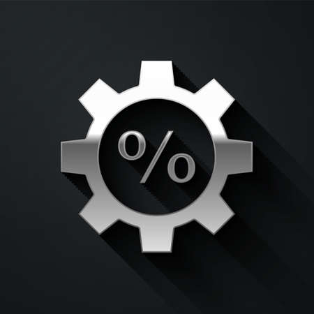Silver Gear with percent icon isolated on black background. Long shadow style. Vector Illustration.