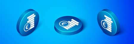 Isometric Coin money with euro symbol icon isolated on blue background. Banking currency sign. Cash symbol. Blue circle button. Vector Illustration.