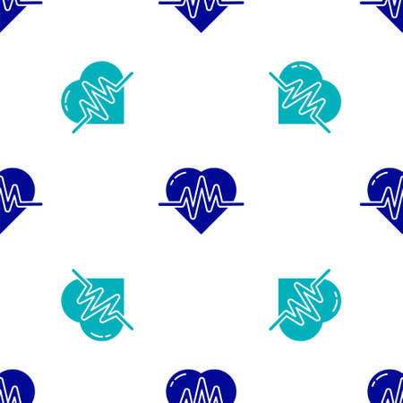 Blue Heart rate icon isolated seamless pattern on white background. Heartbeat sign. Heart pulse icon. Cardiogram icon.  Vector Illustration. Ilustracja
