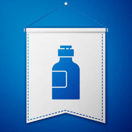 Blue Bottle of medicine syrup icon isolated on blue background. White pennant template. Vector Illustration.