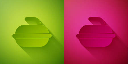 Paper cut Stone for curling sport game icon isolated on green and pink background. Sport equipment. Paper art style. Vector Illustration. Çizim