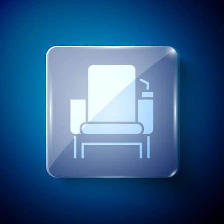 White Cinema chair icon isolated on blue background. Square glass panels. Vector Illustration.