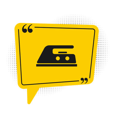 Black Electric iron icon isolated on white background. Steam iron. Yellow speech bubble symbol. Vector Illustration.