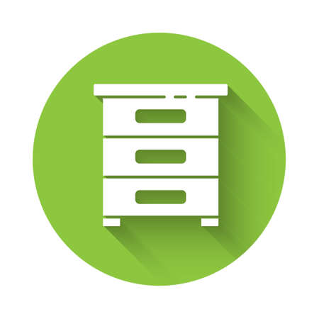 White Drawer with documents icon isolated with long shadow. Archive papers drawer. File Cabinet Drawer. Office furniture. Green circle button. Vector Illustration. Archivio Fotografico - 150269260