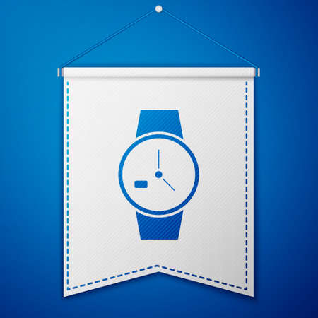Blue Wrist watch icon isolated on blue background. Wristwatch icon. White pennant template. Vector Illustration. Illustration