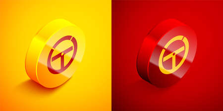 Isometric Steering wheel icon isolated on orange and red background. Car wheel icon. Circle button. Vector Illustration. 向量圖像