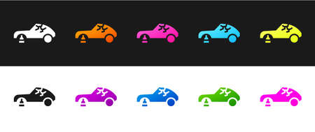 Set Broken car icon isolated on black and white background. Car crush.  Vector Illustration.