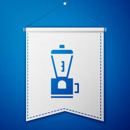 Blue Electric coffee grinder icon isolated on blue background. White pennant template. Vector Illustration.