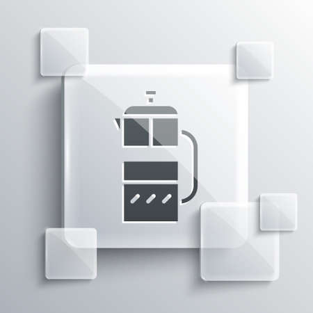 Grey French press icon isolated on grey background. Square glass panels. Vector Illustration.