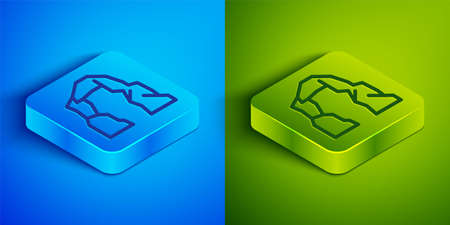 Isometric line Grand canyon icon isolated on blue and green background. National park in Arizona United States. Square button. Vector Illustration. 向量圖像