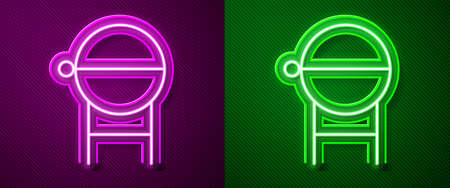Glowing neon line Barbecue grill icon isolated on purple and green background. BBQ grill party. Vector Illustration.