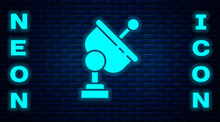 Glowing neon Radar icon isolated on brick wall background. Search system. Satellite sign. Vector Illustration.