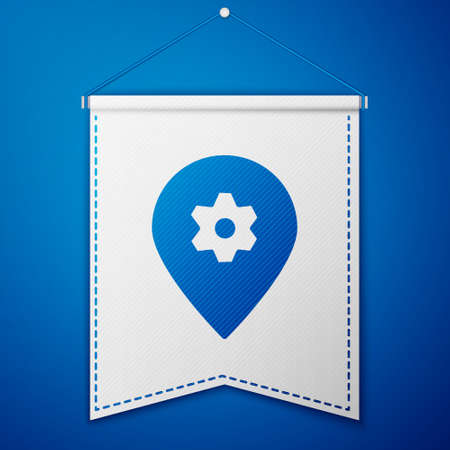 Blue Location with car service icon isolated on blue background. Auto mechanic service. Repair service auto mechanic. White pennant template. Vector Illustration.