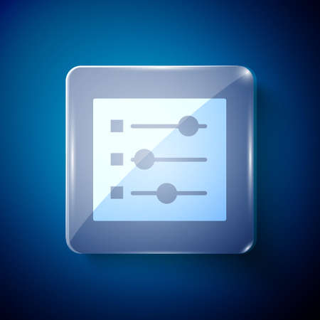 White Car settings icon isolated on blue background. Auto mechanic service. Repair service auto mechanic. Maintenance sign. Square glass panels. Vector Illustration.