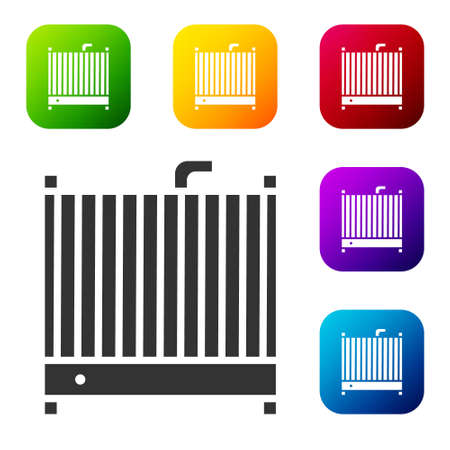 Black Car radiator cooling system icon isolated on white background. Set icons in color square buttons. Vector Illustration. Stock Illustratie