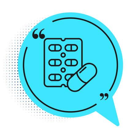Black line Pills in blister pack icon isolated on white background. Medical drug package for tablet, vitamin, antibiotic, aspirin. Blue speech bubble symbol. Vector Illustration. 일러스트