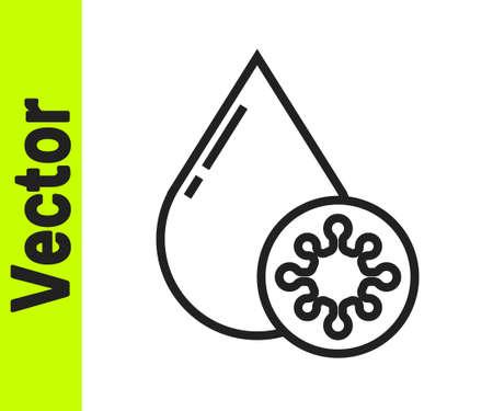 Black line Blood test and virus molecule coronavirus icon isolated on white background. Coronavirus, COVID-19. 2019-nCoV. Vector Illustration.