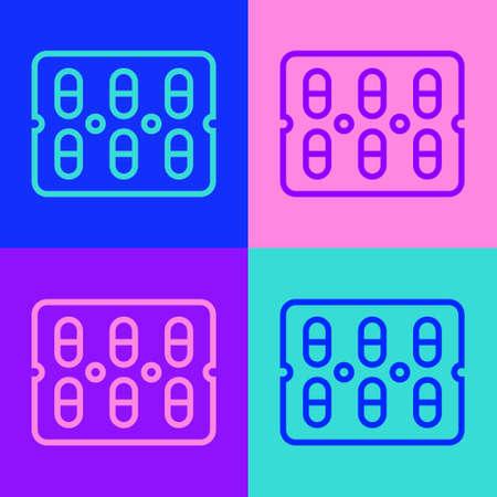 Pop art line Pills in blister pack icon isolated on color background. Medical drug package for tablet, vitamin, antibiotic, aspirin. Vector Illustration.