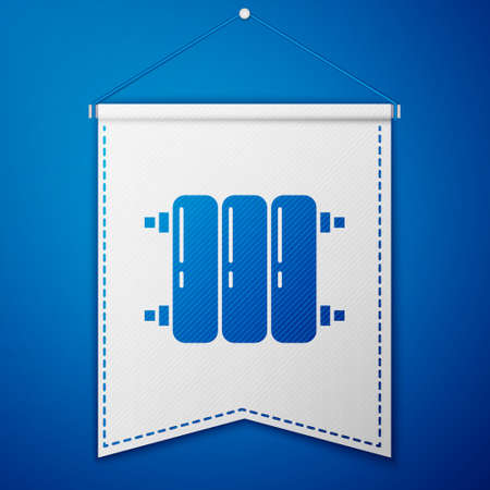 Blue Heating radiator icon isolated on blue background. White pennant template. Vector Illustration.