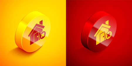 Isometric House with wrong mark icon isolated on orange and red background. Home and close, delete, remove symbol. Circle button. Vector Illustration. Illustration