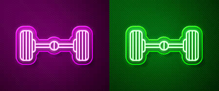 Glowing neon line Chassis car icon isolated on purple and green background. Vector Illustration. Ilustracja