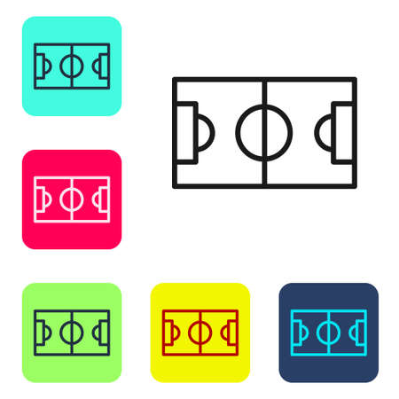 Black line Football or soccer field icon isolated on white background. Set icons in color square buttons. Vector Illustration.