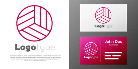 Logotype line Volleyball ball icon isolated on white background. Sport equipment. Ilustracja